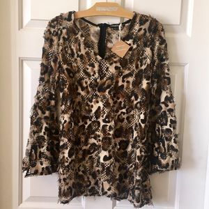 Atmosphere Leopard Cheetah Mesh Bell Sleeve Top L✨